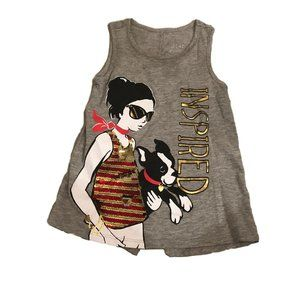 Justice Gray Girl Dog Tank Top Girls Size 6
